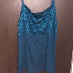 Lane Bryant teal lace trimmed cami sz 14-16
